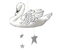 Handmade White Swan Mobile with Metallic Leather