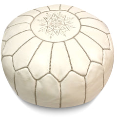 Cream w Grey Stitching Moroccan Pouf