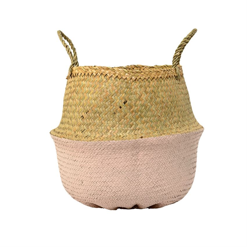 Curated Nest: Nurseries and Design - Pink Dipped Seagrass Basket - Storage