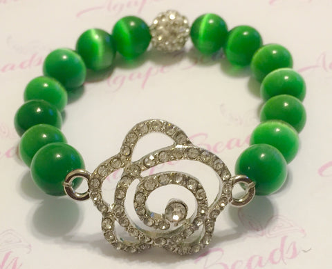 Clear Crystal Links Rose Charm Bracelet - Kelly Green Cat's Eye