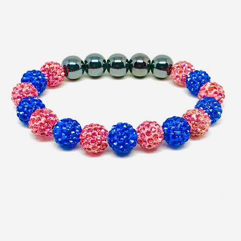 Pink and Light Blue Jack & Jill Crystal Ball Bracelet