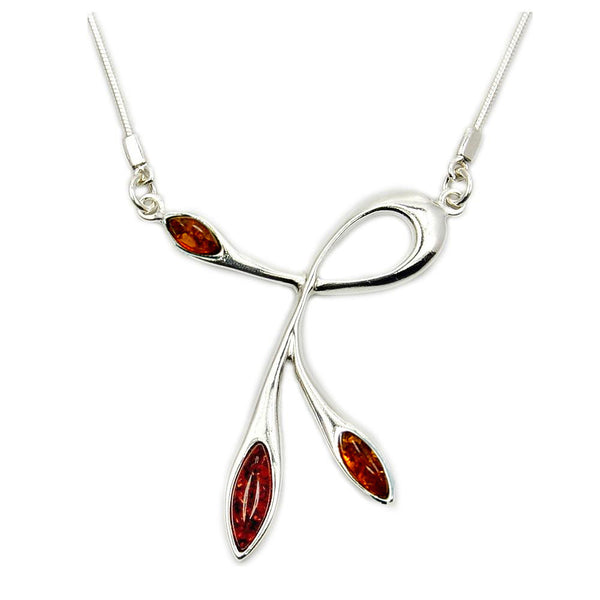 Temptress Sterling Silver Natural Baltic Amber Necklace