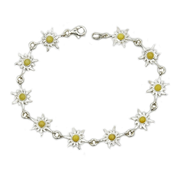 'Bright Sun' Milky Baltic Amber & Sterling Silver Bracelet - The Silver Plaza