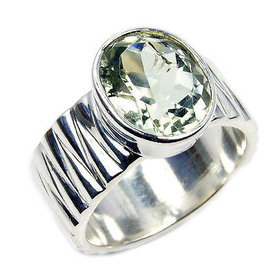 'Reflections' Green Amethyst & .925 Sterling Silver Ring Size 8.75 - The Silver Plaza