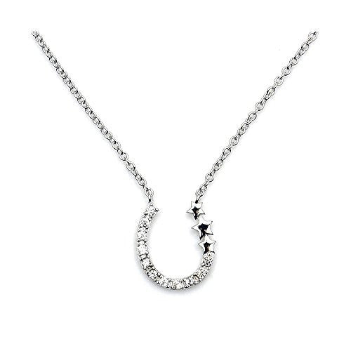 Sterling Silver Cubic Zirconia Horseshoe & Stars Necklace - The Silver Plaza