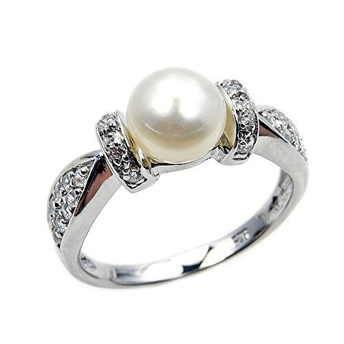 Sterling Silver Pearl, CZ Bridal Ring, Size 8.75 - The Silver Plaza