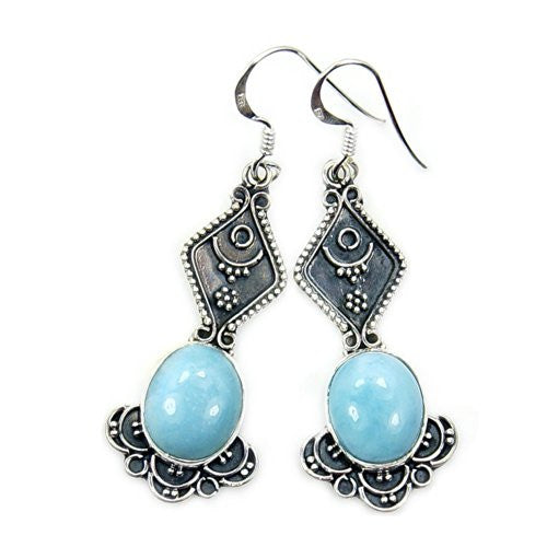 Lavish Sterling Silver Genuine Dominican Larimar Dangle Earrings - The Silver Plaza