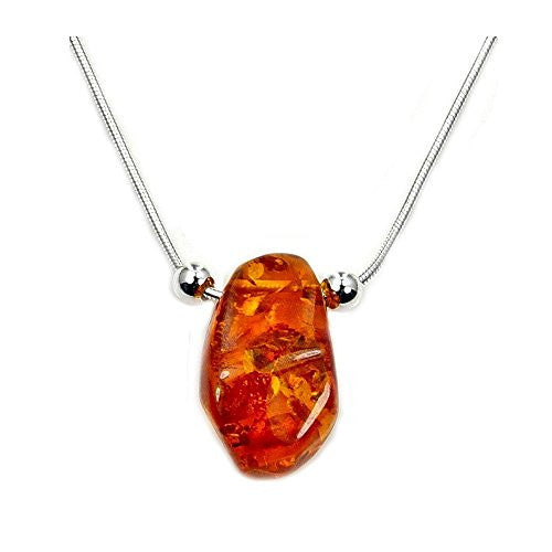 'Sweet Drop' Sterling Silver Natural Honey Baltic Amber Necklace - The Silver Plaza