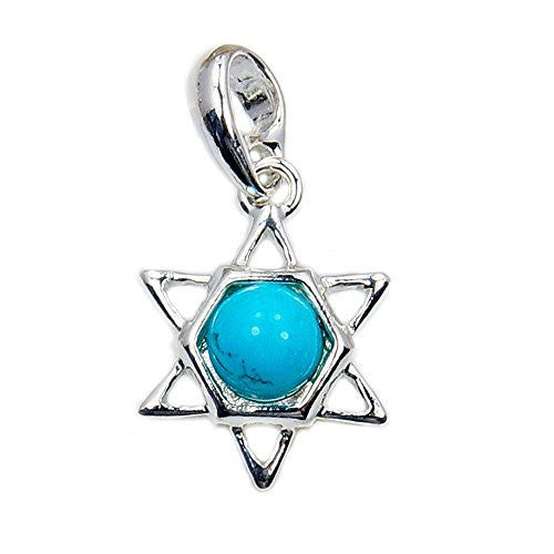 Sterling Silver Synthetic Turquoise Jewish Star of David Pendant - The Silver Plaza