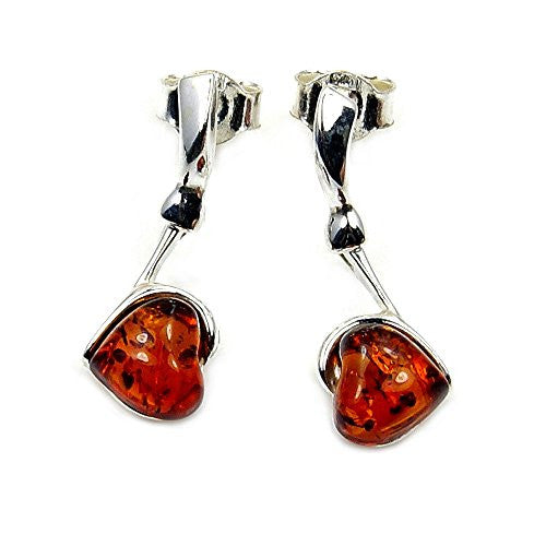 'Sweet Valentine' Sterling Silver Natural Baltic Amber Heart Earrings - The Silver Plaza