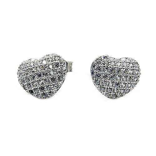 Sterling Silver Micro Pave Cubic Zirconia Heart Stud Earrings - The Silver Plaza