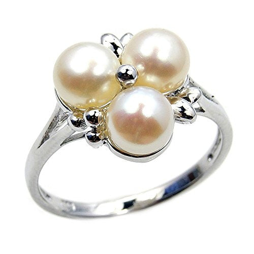 Cluster Style Sterling Silver Simulated Pearl, CZ Bridal Ring, Size 6 - The Silver Plaza