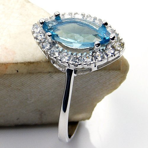 Sparkling Sterling Silver Blue Cubic Zirconia Ring, Size 6.75 - The Silver Plaza