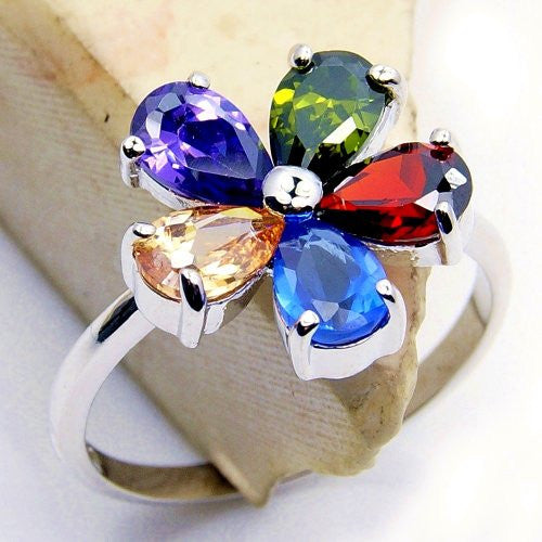 """Blossom"" Multigem CZ Flower & Sterling Silver Ring Size 5.75 - The Silver Plaza"