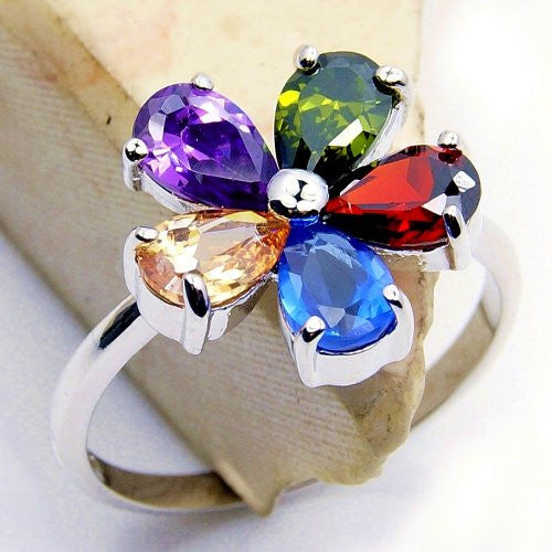 """Blossom"" Multigem CZ Flower & .925 Sterling Silver Ring Size 6.75 - The Silver Plaza"