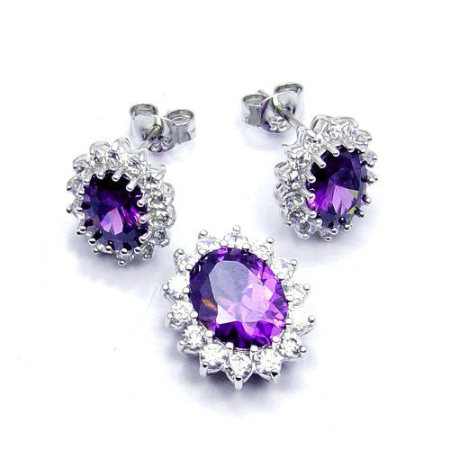 Sparkling Sterling Silver Purple CZ Earrings & Pendant Set - The Silver Plaza
