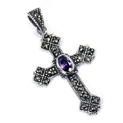 """Honesty"" Purple CZ, Marcasite & Sterling Silver Cross Pendant - The Silver Plaza"
