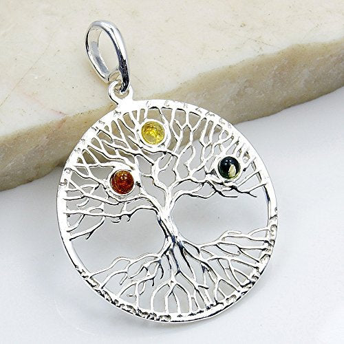 Tree of Life Natural Green, Honey Baltic Amber & 925 Sterling Silver Pendant - The Silver Plaza