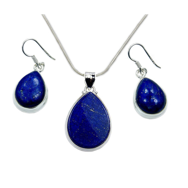 'Deepest Blue' Sterling Silver Lapis Lazuli Set Earrings & Necklace - The Silver Plaza