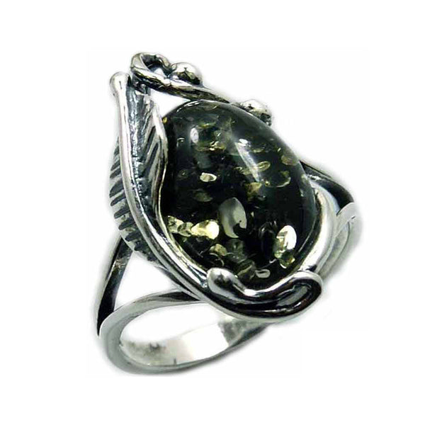 'Passion Leaf' Sterling Silver Moss Green Baltic Amber Ring - The Silver Plaza