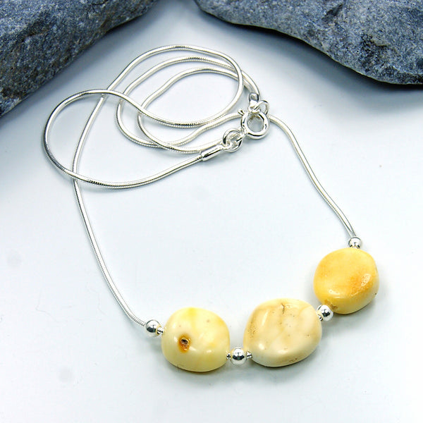 Tribal Sterling Silver Butterscotch Baltic Amber Necklace