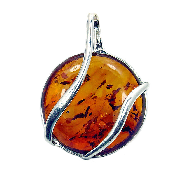 'Embrace' Large Sterling Silver Baltic Amber Pendant - The Silver Plaza