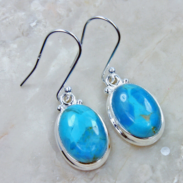 Arizona Turquoise & Sterling Silver Earrings - The Silver Plaza