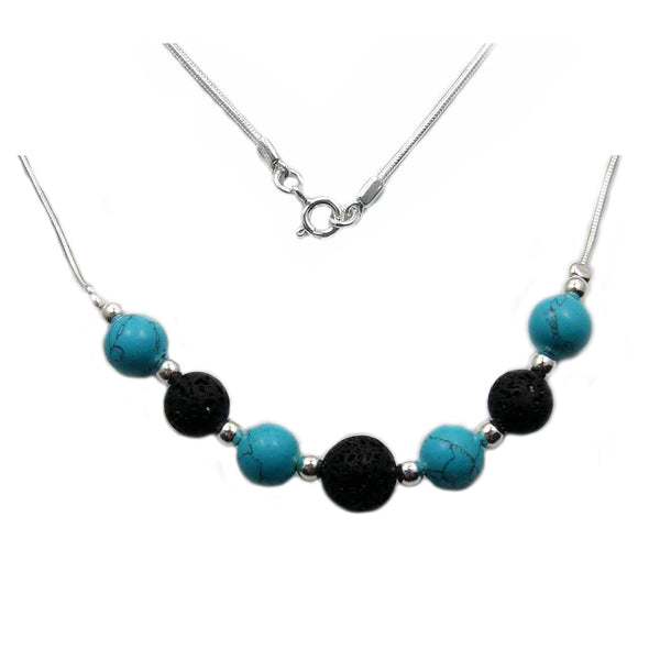 "Beaded Turquoise, Volcanic Lava & 925 Sterling Silver Necklace 17"" - The Silver Plaza"