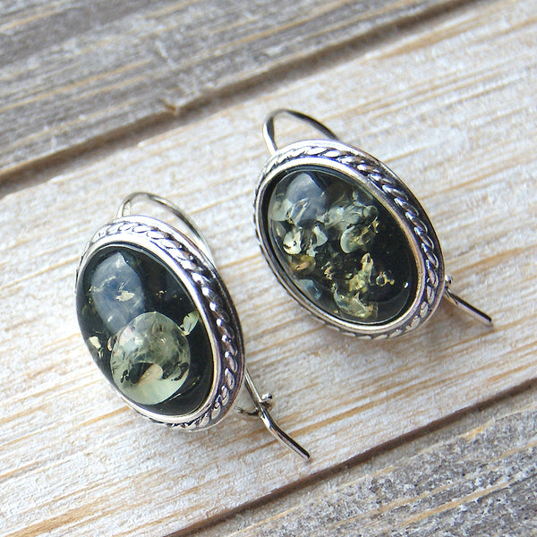 Under the Sea Sterling Silver Green Amber Earrings - The Silver Plaza