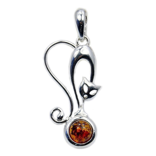Baltic Amber & Sterling Silver Cat Pendant - The Silver Plaza