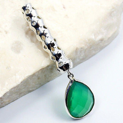 Teardrop Green Onyx & .925 Sterling Silver Pendant T123 - The Silver Plaza