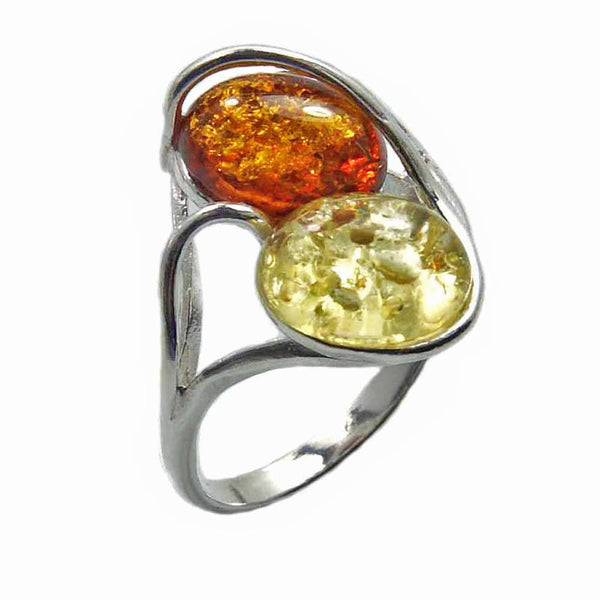'Soulmates' Sterling Silver Baltic Amber Ring - The Silver Plaza