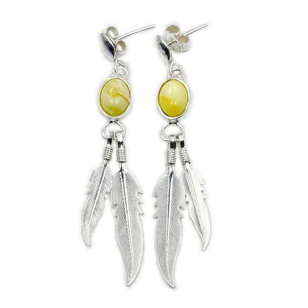 Sterling Silver Butterscotch Baltic Amber Feather Dangle Earrings