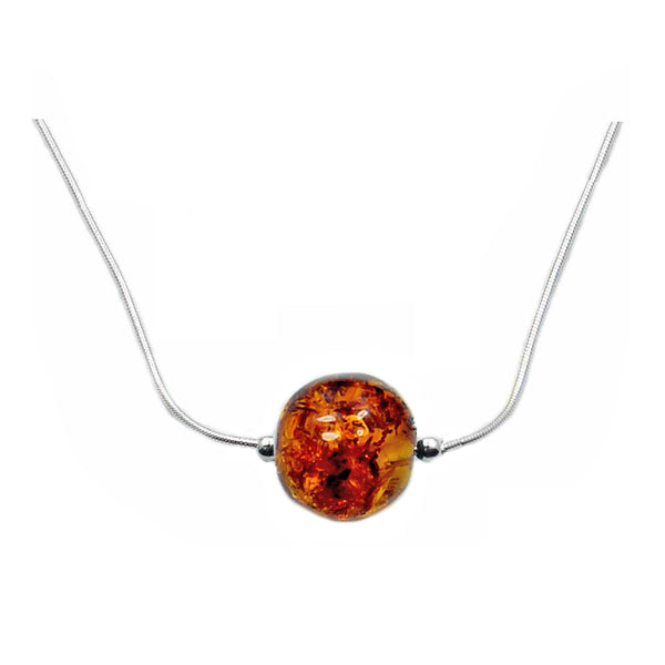 Sterling Silver Natural Baltic Ball Amber Necklace