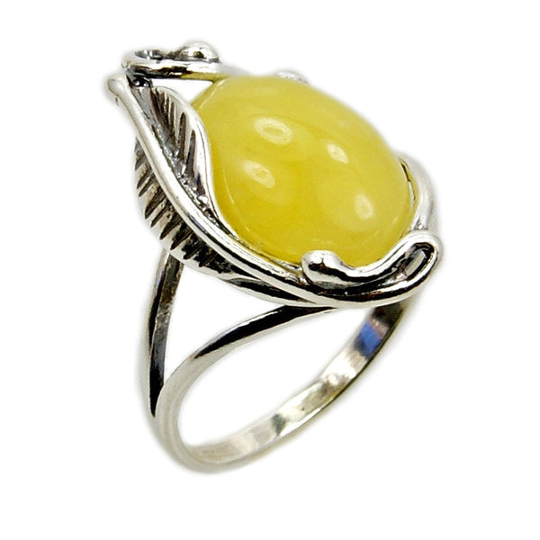 Passion Leaf' Sterling Silver Butterscotch Baltic Amber Ring
