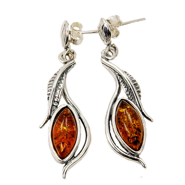 Baltic Amber & Sterling Silver Dangle Earrings - The Silver Plaza