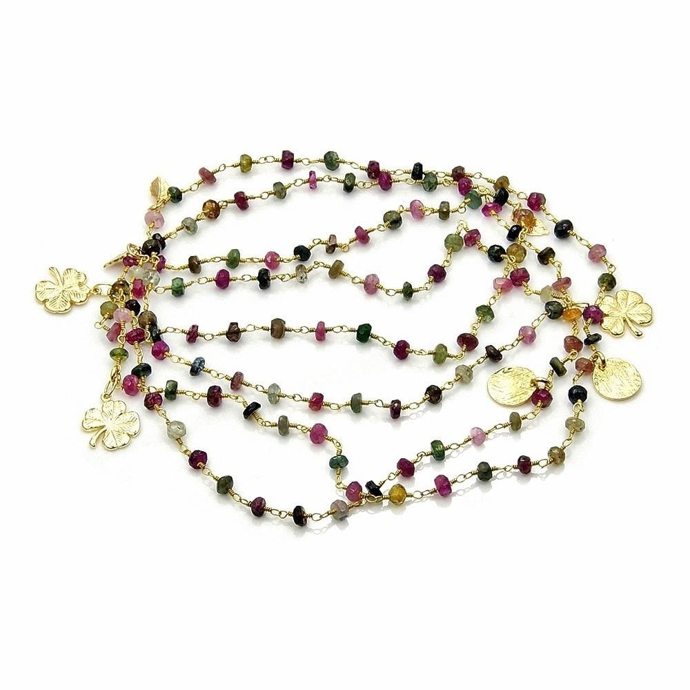 Tourmaline Strand Beaded Necklace, Hammered Four-leaf Clovers; Gold Over Sterling Silver AA675 - Emavera - 2