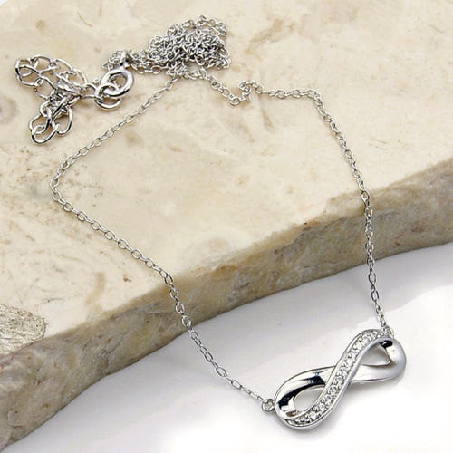 Infinity Cubic Zirconia & .925 Sterling Silver Adjustable Necklace Jewelry , X411 - The Silver Plaza