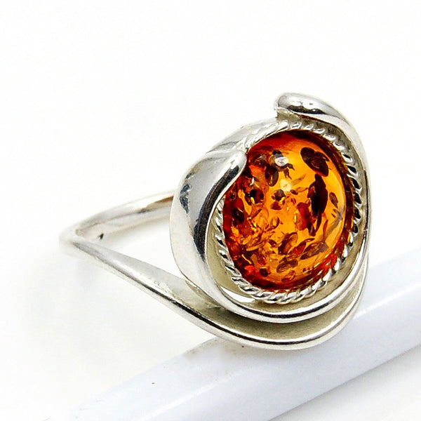 'Eye of The Soul' Sterling Silver Baltic Amber Ring Size 5.75 - The Silver Plaza