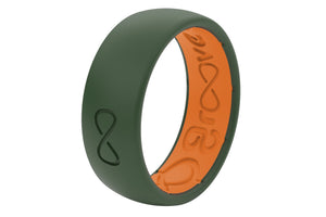 Groove Moss Green Solid Original Mens Silicone Wedding Rings