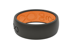 Midnight Black Groove Mens Silicone Rings