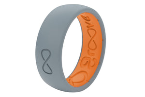 Storm Grey Groove Solid Mens Silicone Rings
