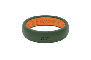 Thin Groove Moss Green Womens Silicone Rings