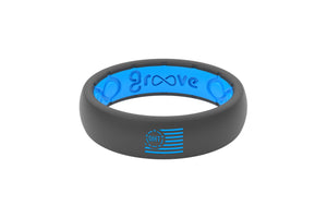 Thin OHT Silicone Rings Deep Stone Blue Flag
