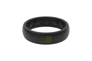 Thin OHT Silicone Rings Green Flag
