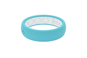 Thin Turquoise Silicone Wedding Bands