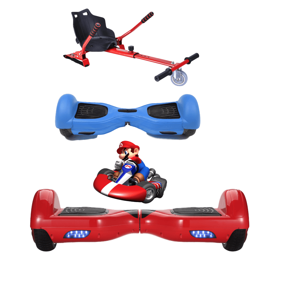 2019 SUPER MARIO -  6.5 Red classic Swegway Hoverboard + Red  Hoverkart Bundle Deal + Blue Protective case - Segwayfun