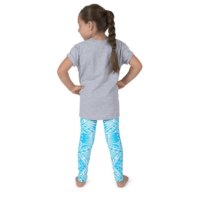 Kid's Tefiti Tribal Tattoo Legging (Ocean Blue/White) - HamoPride