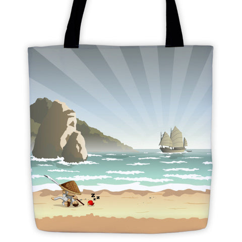 Monkey Soldier on the Beach Battle Tails Tote