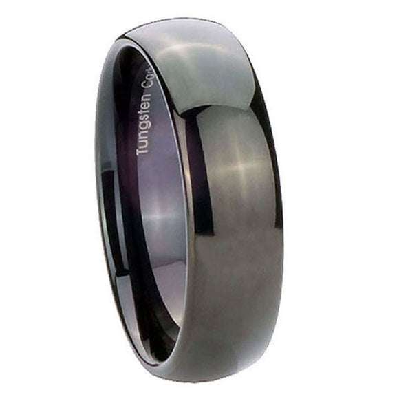5MM Tungsten Carbide Glossy Black Classic Dome Women Bands Ring